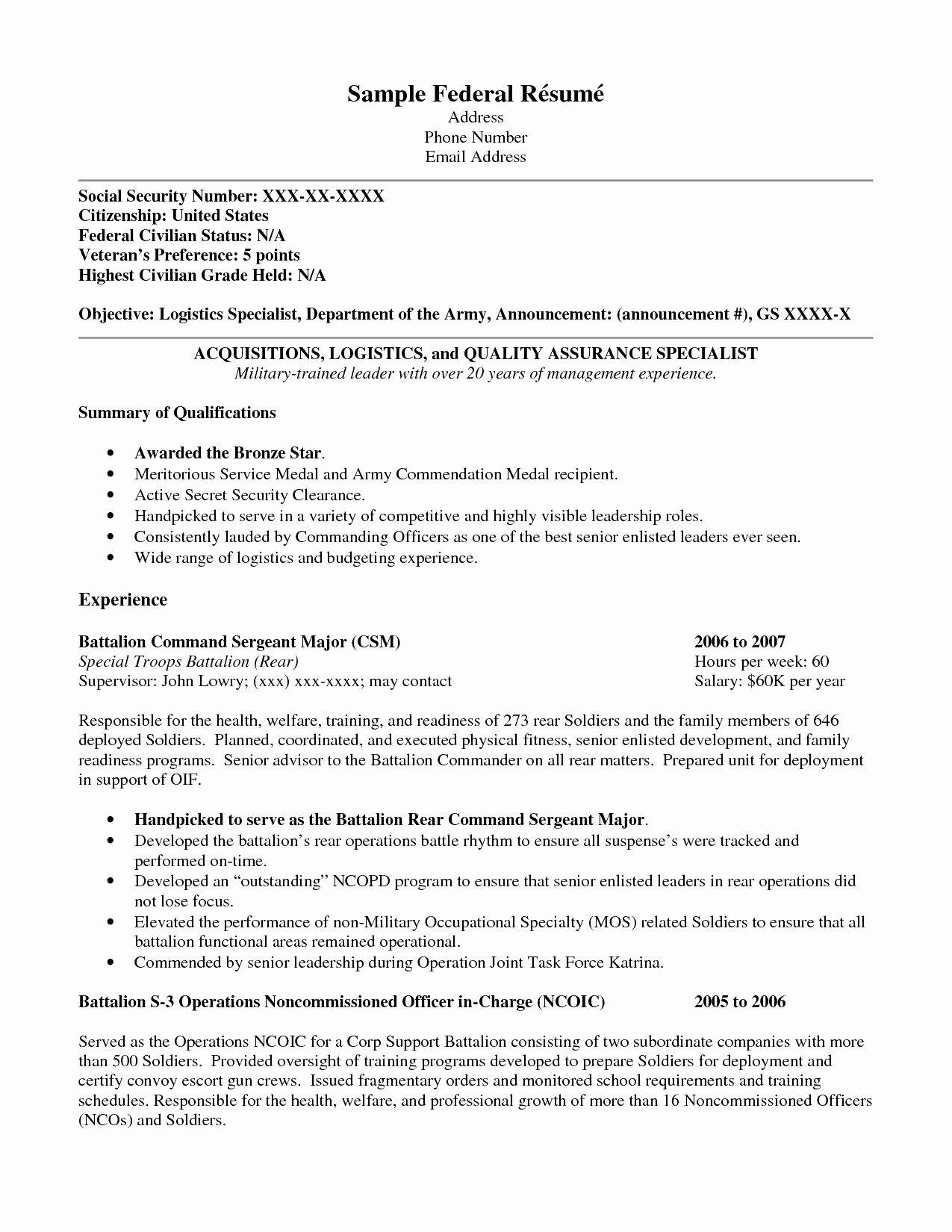 Civilian Resume