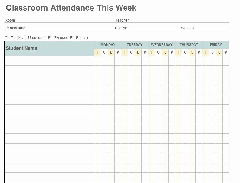 Class attendance Template