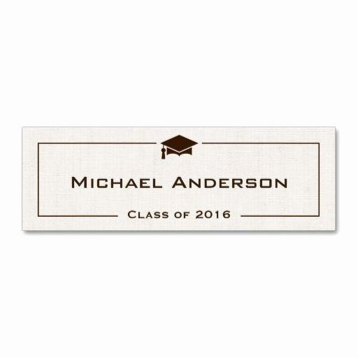 Class Of Graduation Name Card Classic Linen Look