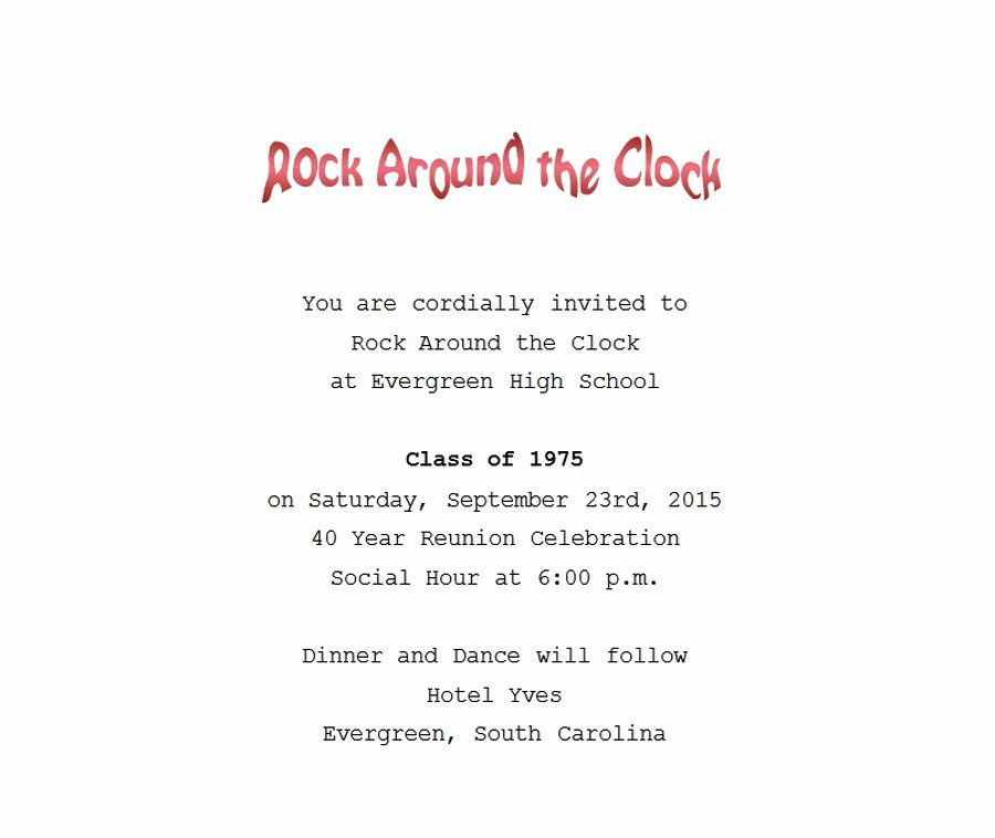 Class Reunion Invitation 1 Wording