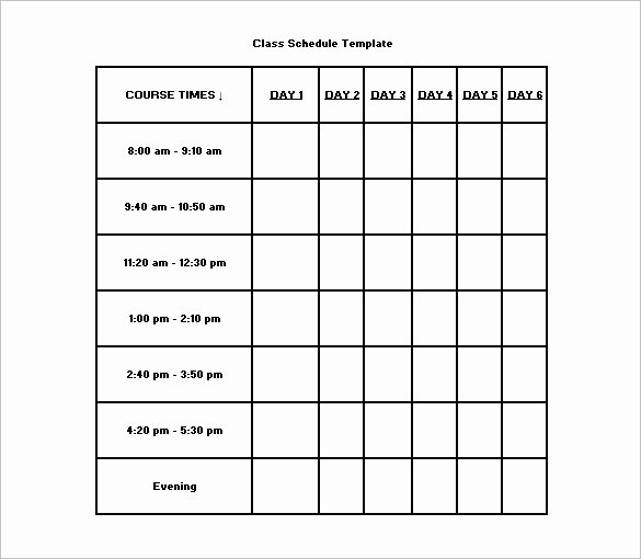 Class Schedule Template 36 Free Word Excel Documents