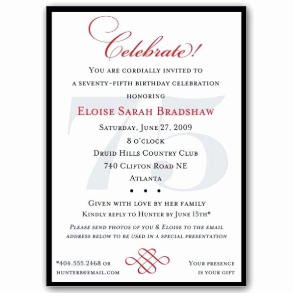 Classic 75th Birthday Celebrate Party Invitations
