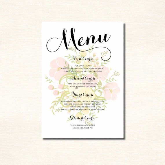 Classic Calligraphy Menu for A Wedding Rehearsal Dinner