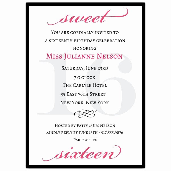 Classic Pink Sweet 16 Birthday Invitations