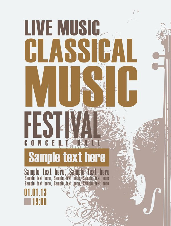 Classical Music Retro Concert Poster Template 02 Vector