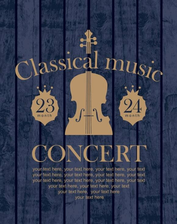 Classical Music Retro Concert Poster Template 03 Free