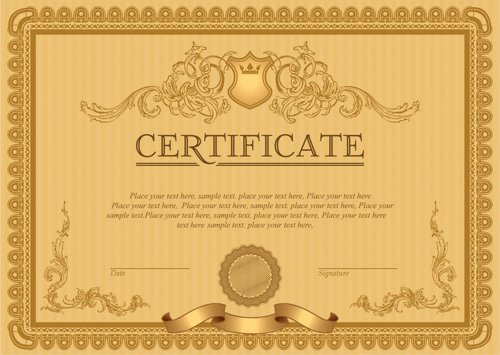 Classical Styles Certificate Template Vectors Free Vector