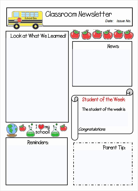 Classroom Newsletter Template 7 Free Download for Pdf Word