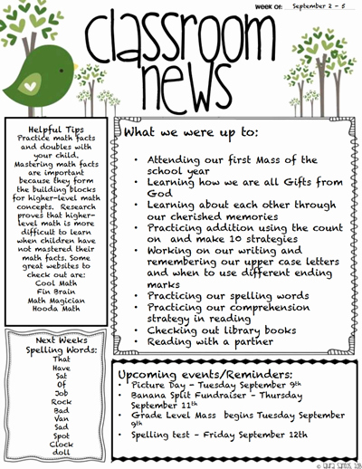 Classroom Newsletter Template Download Create Edit