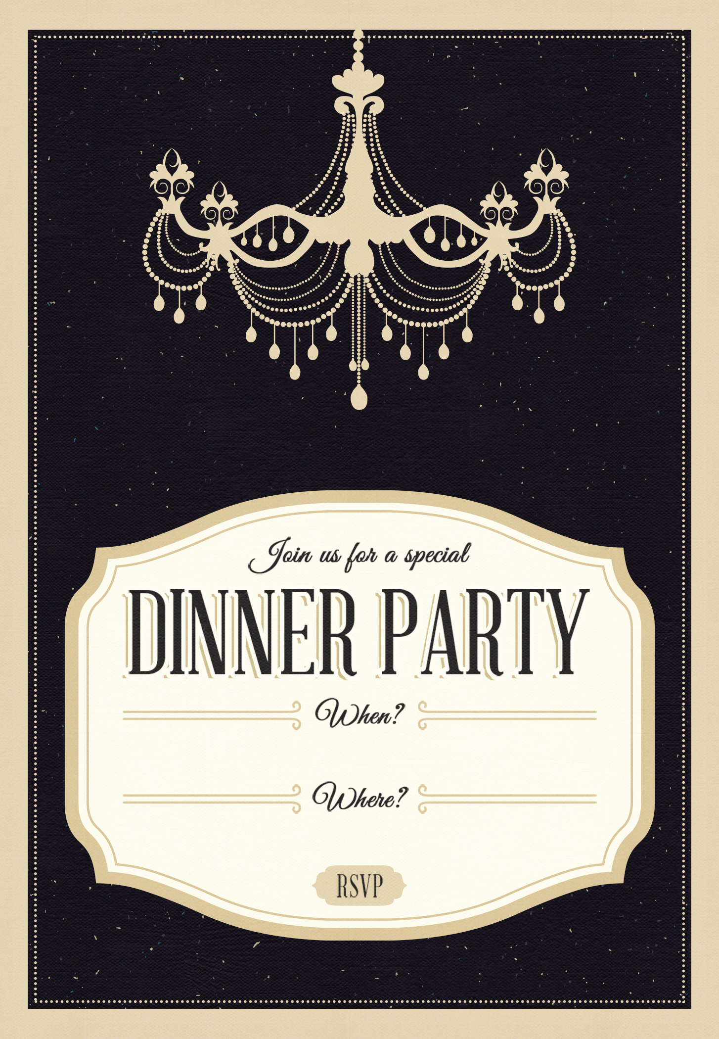 Classy Chandelier Free Printable Dinner Party Invitation