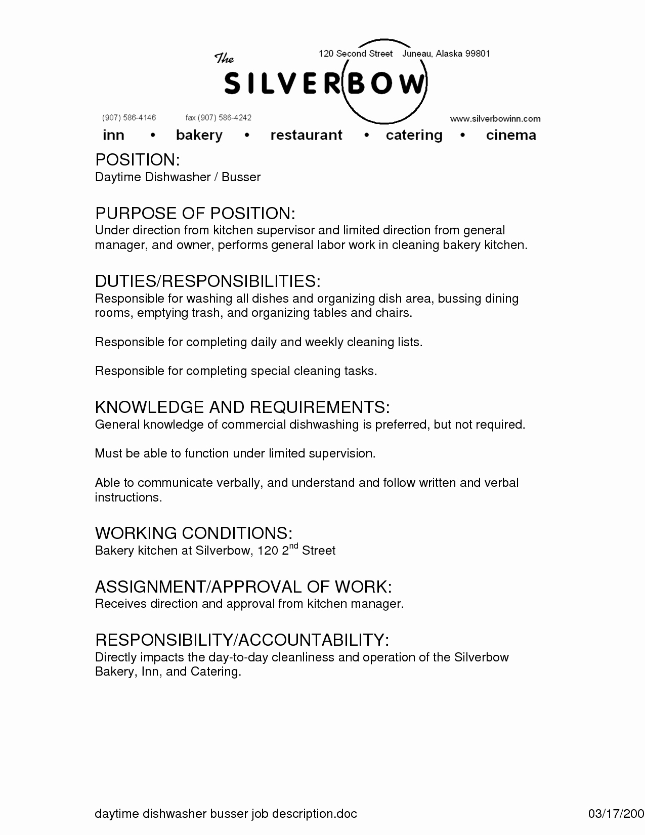 Classy Job Descriptions for Resumes for Your Busser Resume