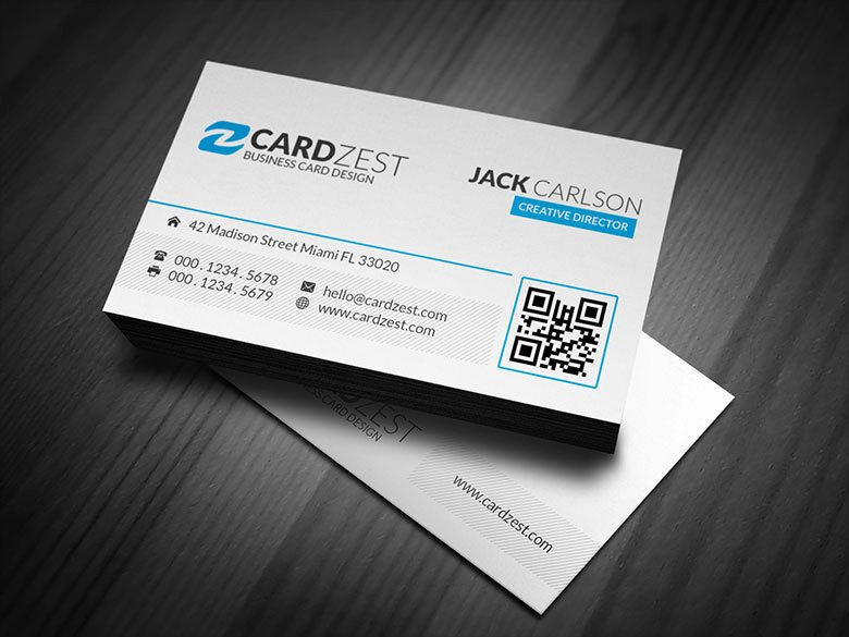 Clean & Simple Blue Accent Business Card Template Cardzest