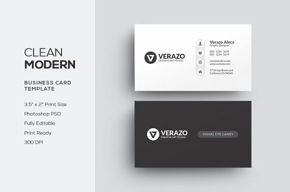 Clean Modern Business Card Business Card Templates