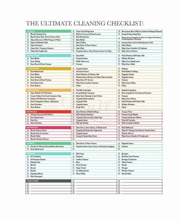 Cleaning Checklist 23 Free Word Pdf Psd Documents