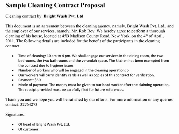 Cleaning Contract Sample Proposal Templates Resume