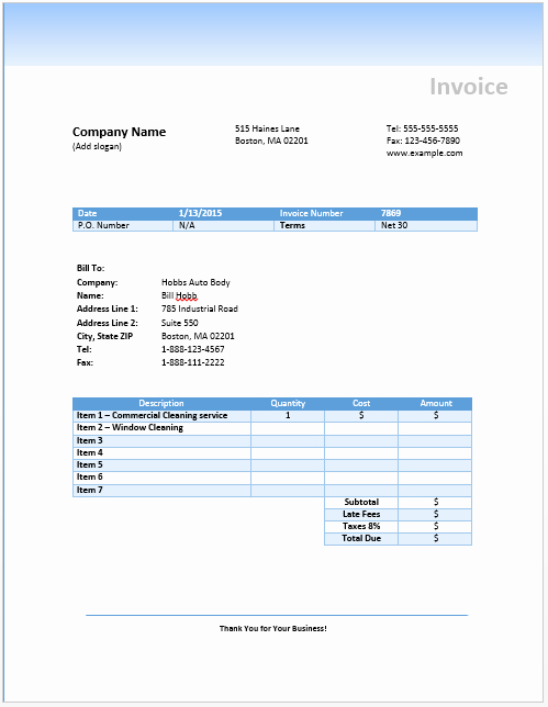 Cleaning Invoice Template Uk