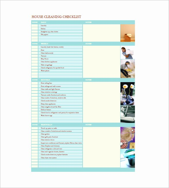 Cleaning List Template – 10 Free Sample Example format