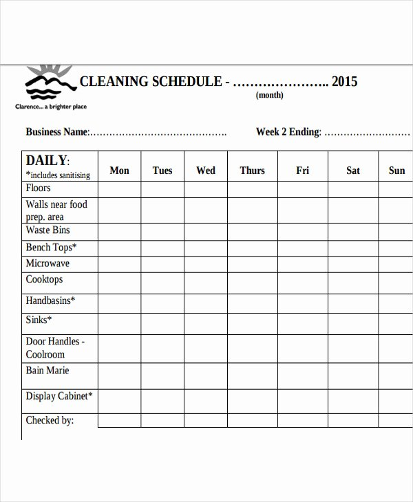Cleaning Schedule Template for Restaurant