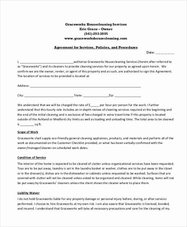 Cleaning Service Contract Template Pdf Templates