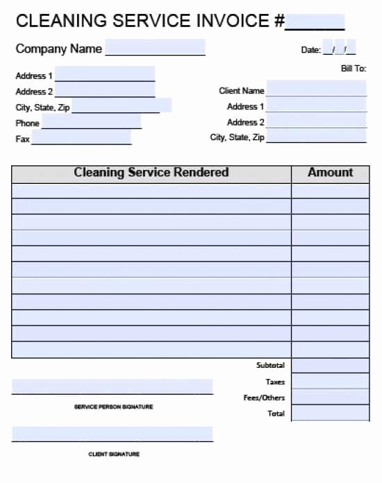 Cleaning Service Invoice forms Templates Resume