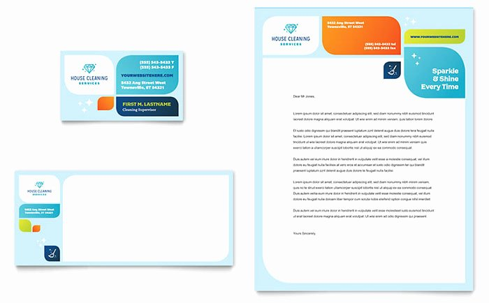 Cleaning Services Business Card Letterhead Templates HM D