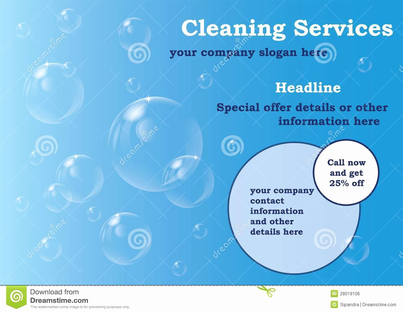 Cleaning Services Flyer Template Stock Illustration