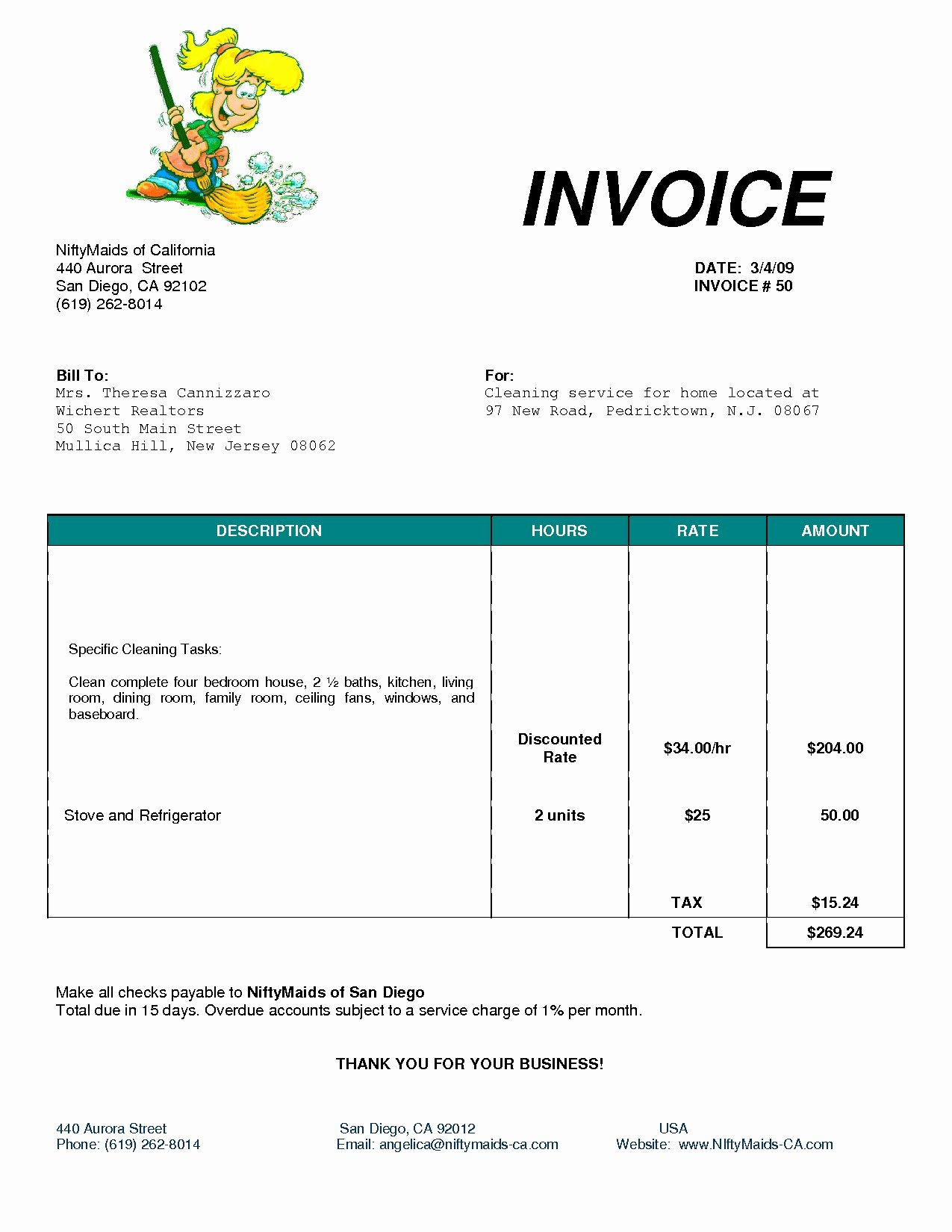 Cleaning Services Invoice Invoice Template Ideas