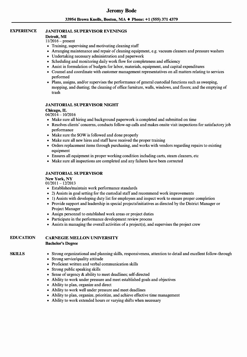 Cleaning Services Job Description then Resume for