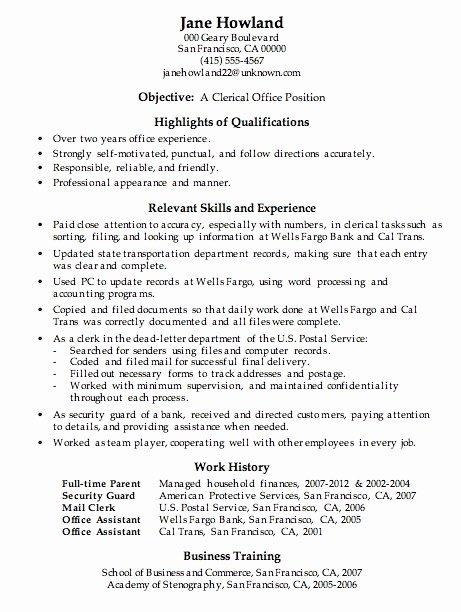 Clerical Skills Resume Best Resume Gallery