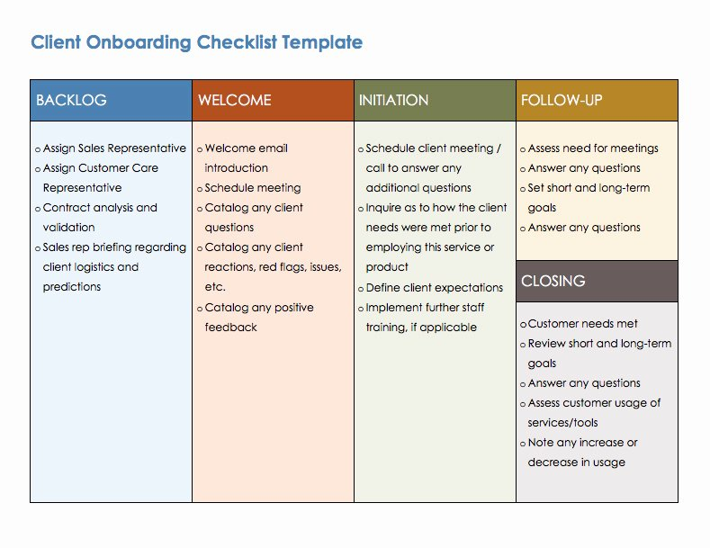 Client Boarding Checklist Template Templates Resume