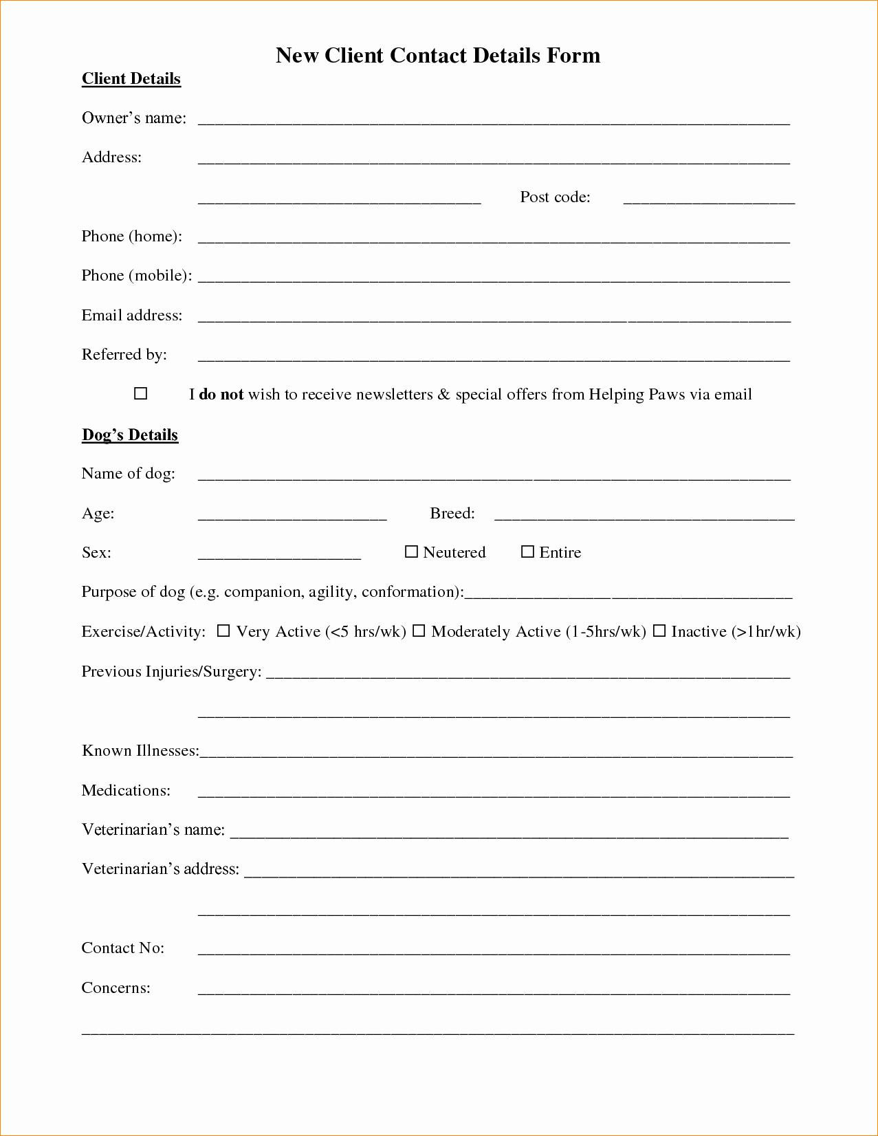 Client Information form Template Portablegasgrillweber