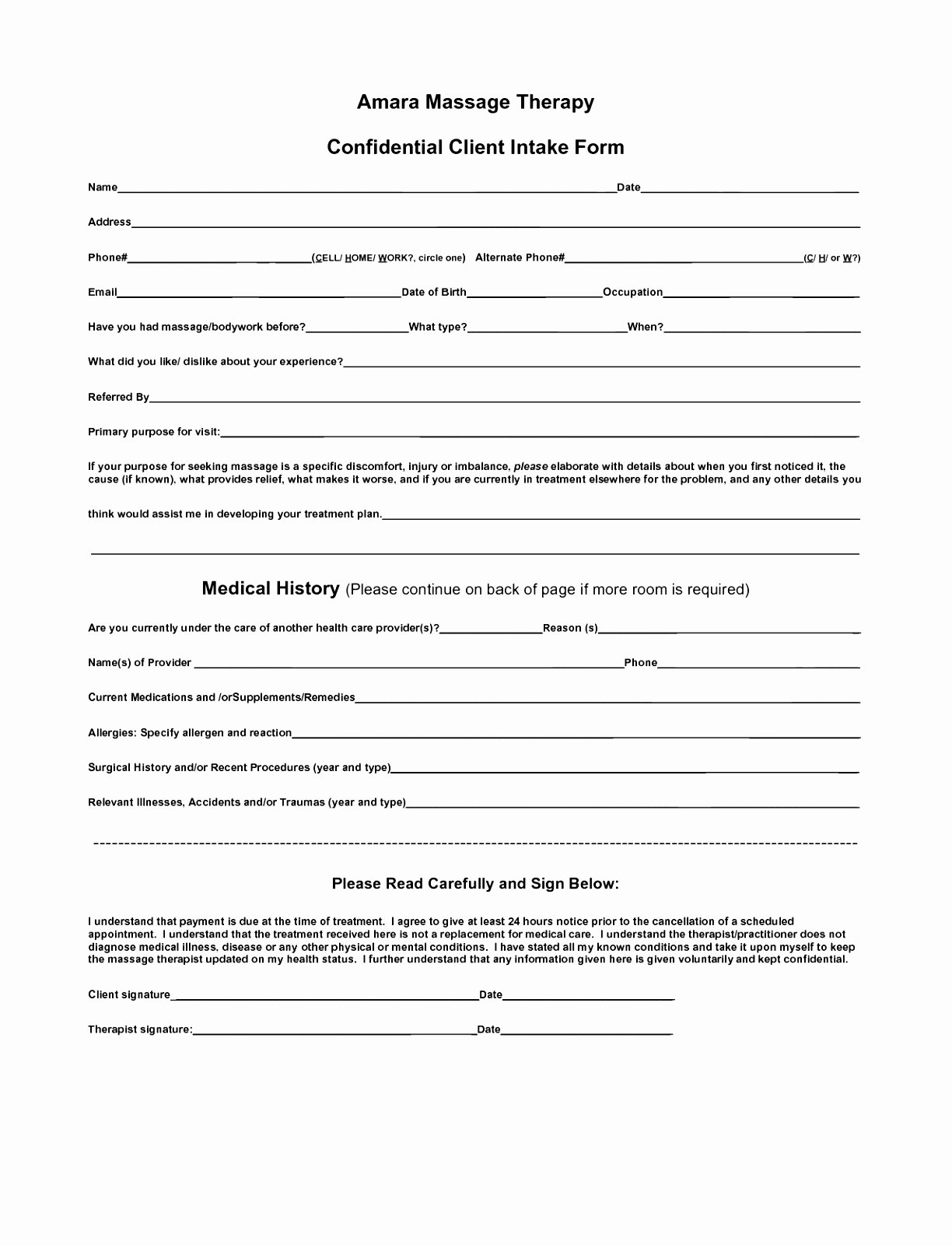 Client Intake forms Printable Client Intake form