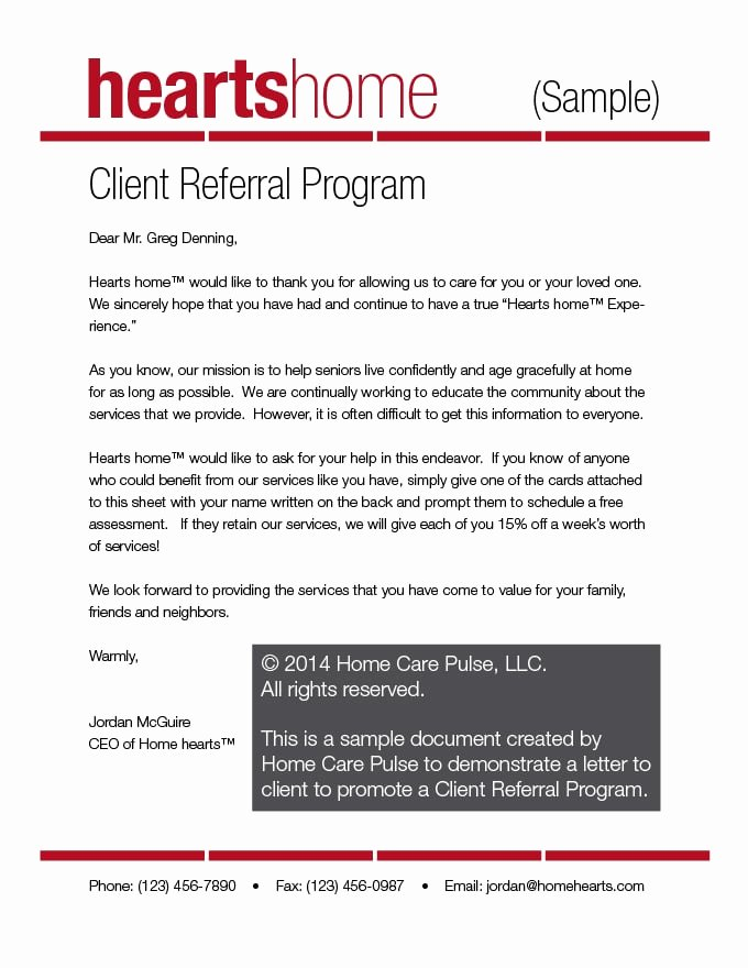 Client Referral Program Letter Sample Template