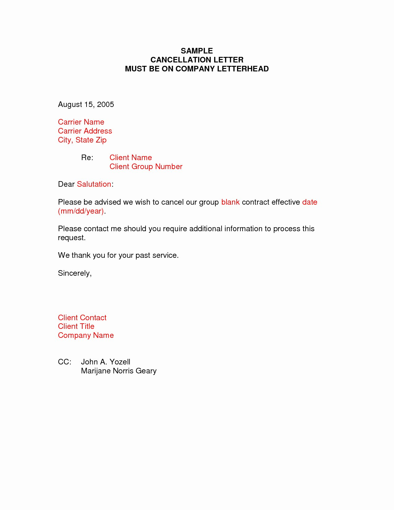 Client Termination Letter Template Samples