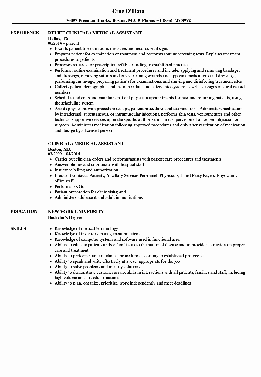 Clinical Medical assistant Resume Samples