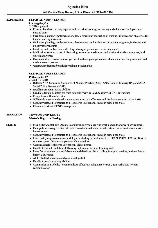 Clinical Nurse Leader Resume Samples