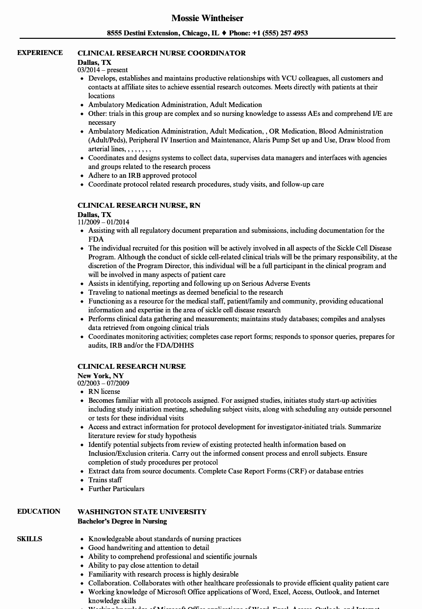 Clinical Research Nurse Resume Samples