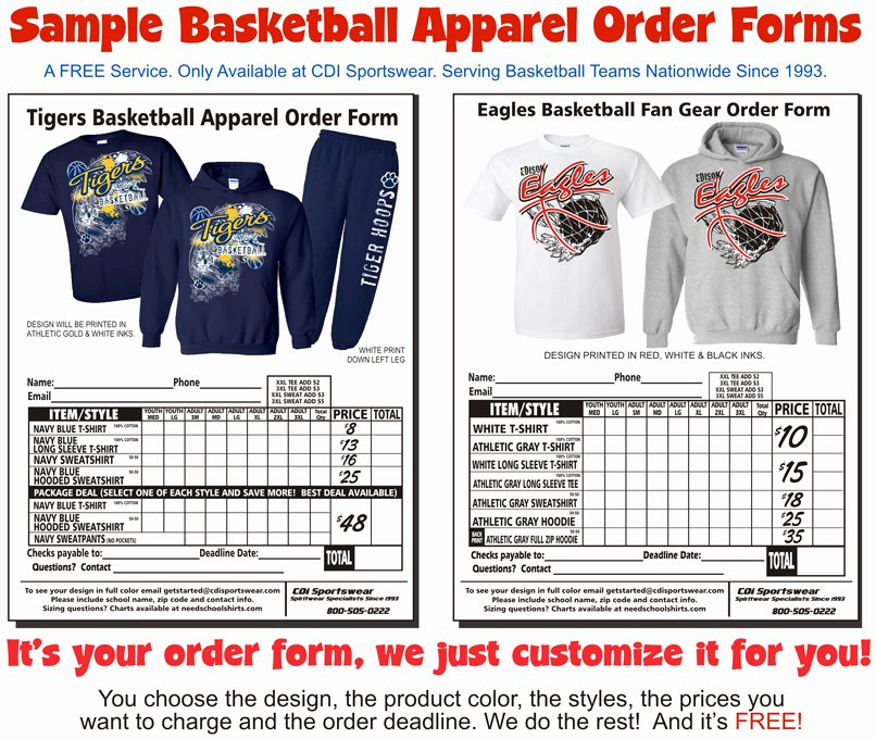 Clothing order form Templates