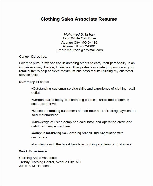 Clothing Sales associate Resume Best Resume Gallery