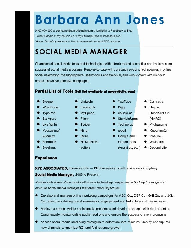 Cmmaao Pmi Resume Template social Media Manager