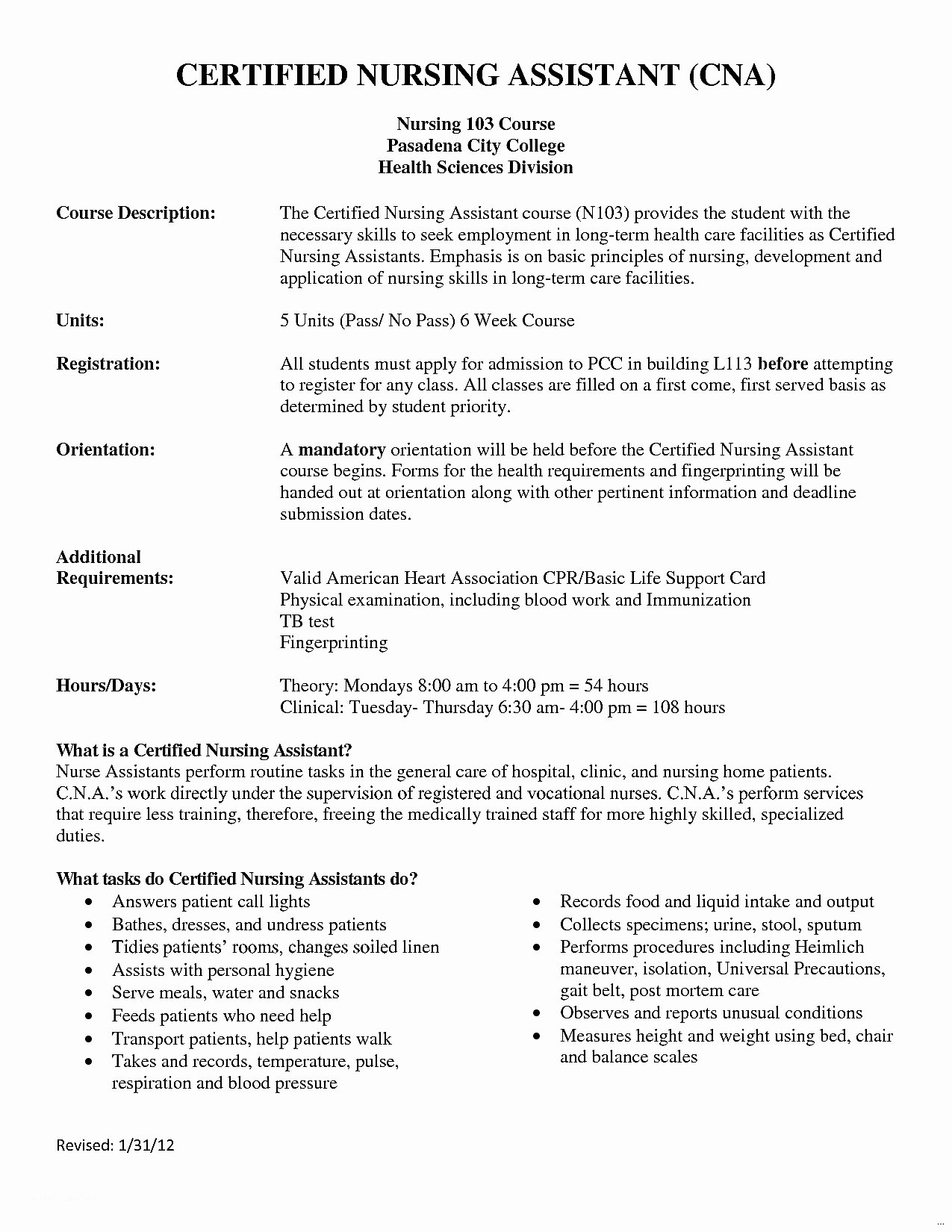 Cna Job Duties Resume