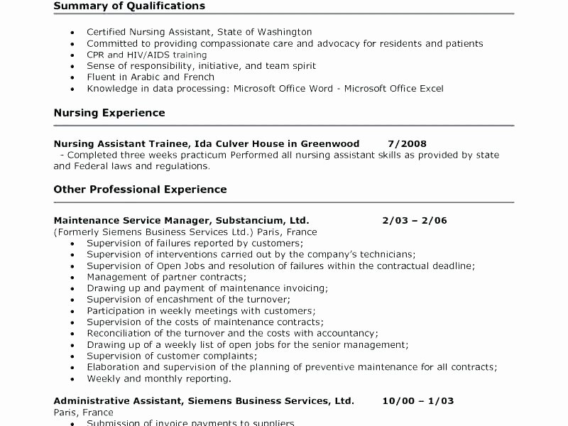 Cna Resume Example Download by Tablet Desktop original