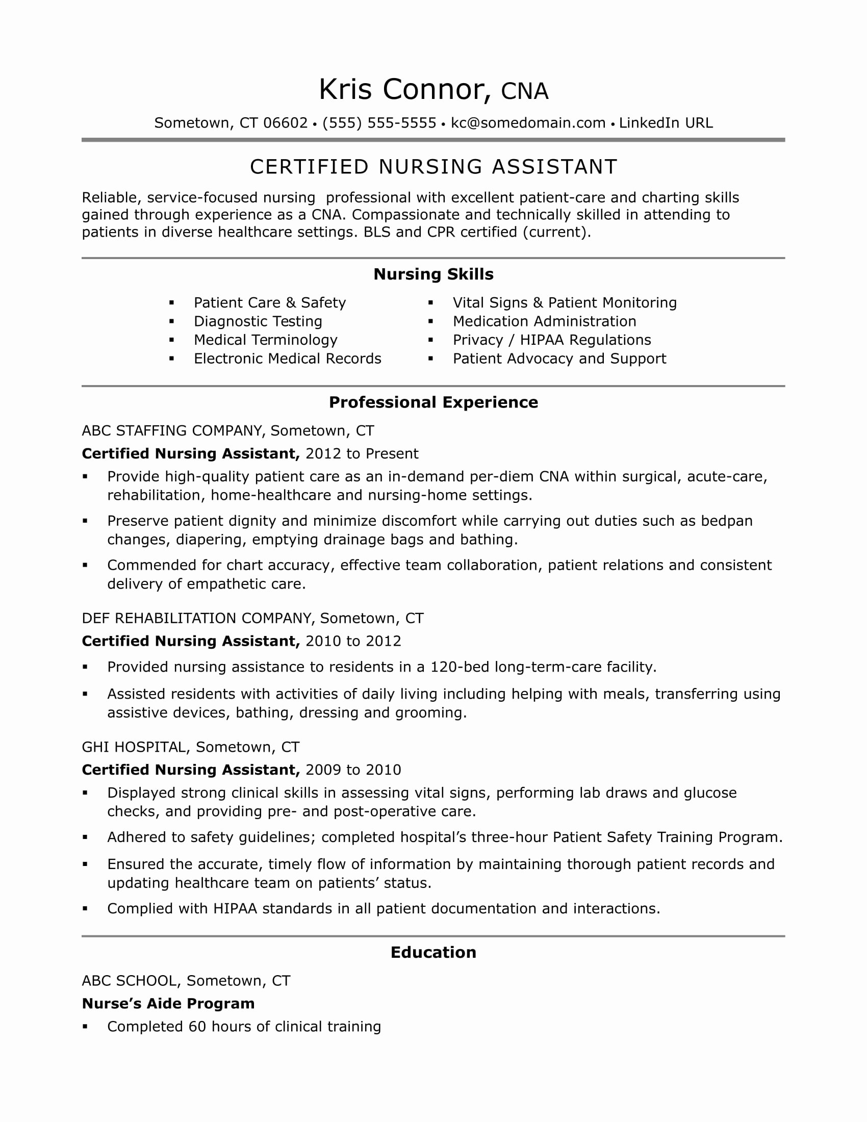 sample resume certified nursing assistant