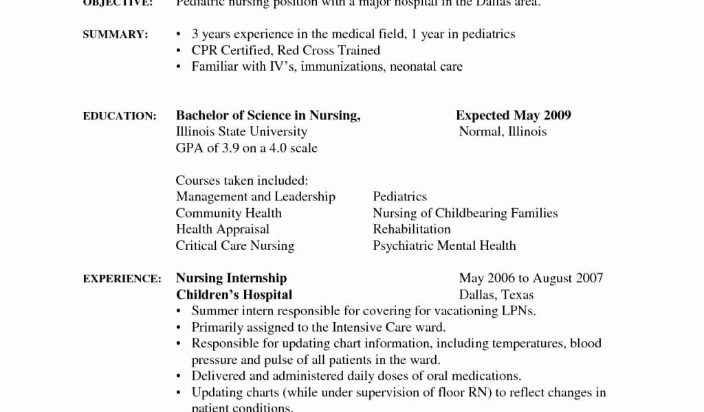 Cna Resume for Hospital Elegant Hospital Cna Resume Kiolla
