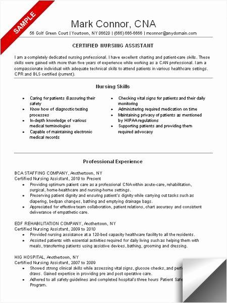 Cna Resume Sample