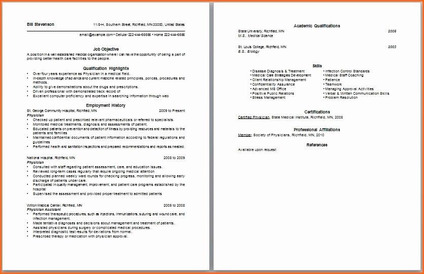Cna Resume Template Microsoft Word