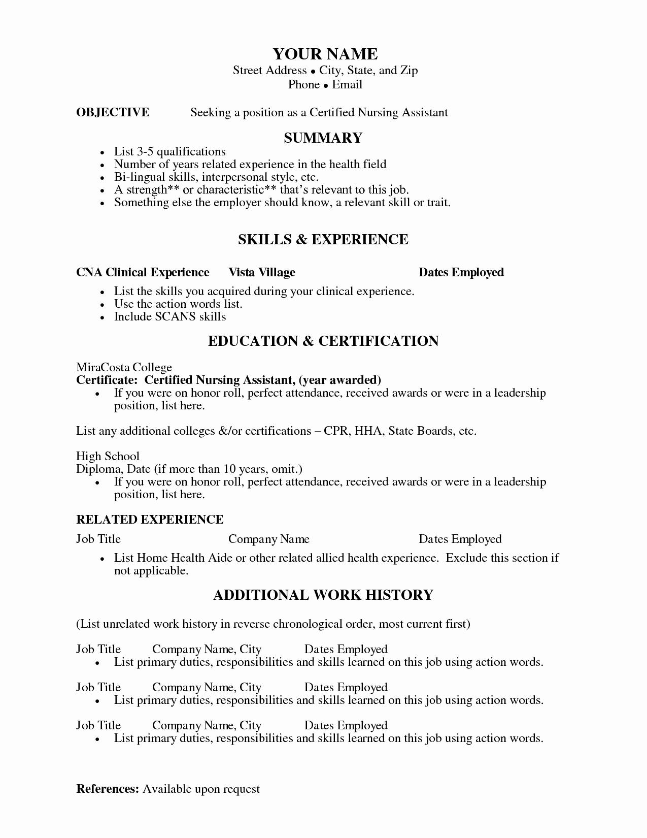 Cna Resume Templates