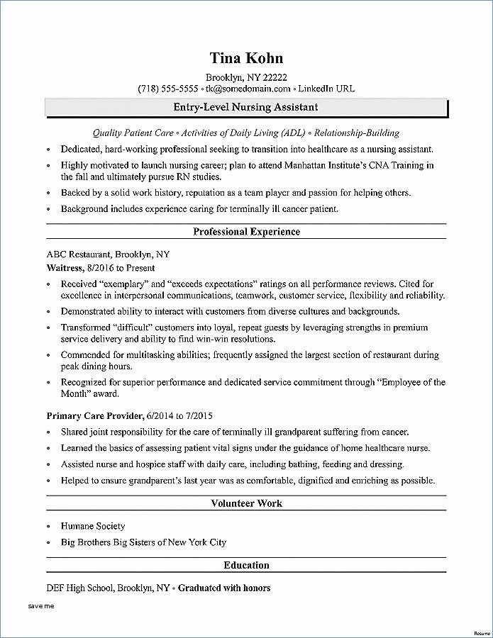 Cna Resume with No Experience – Igniteresumes