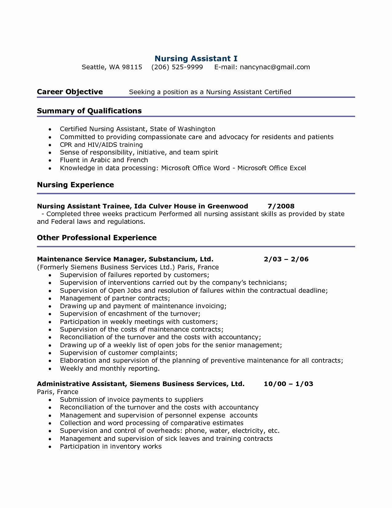 Cna Resumes Sample Resume Hospital Nursing assistant