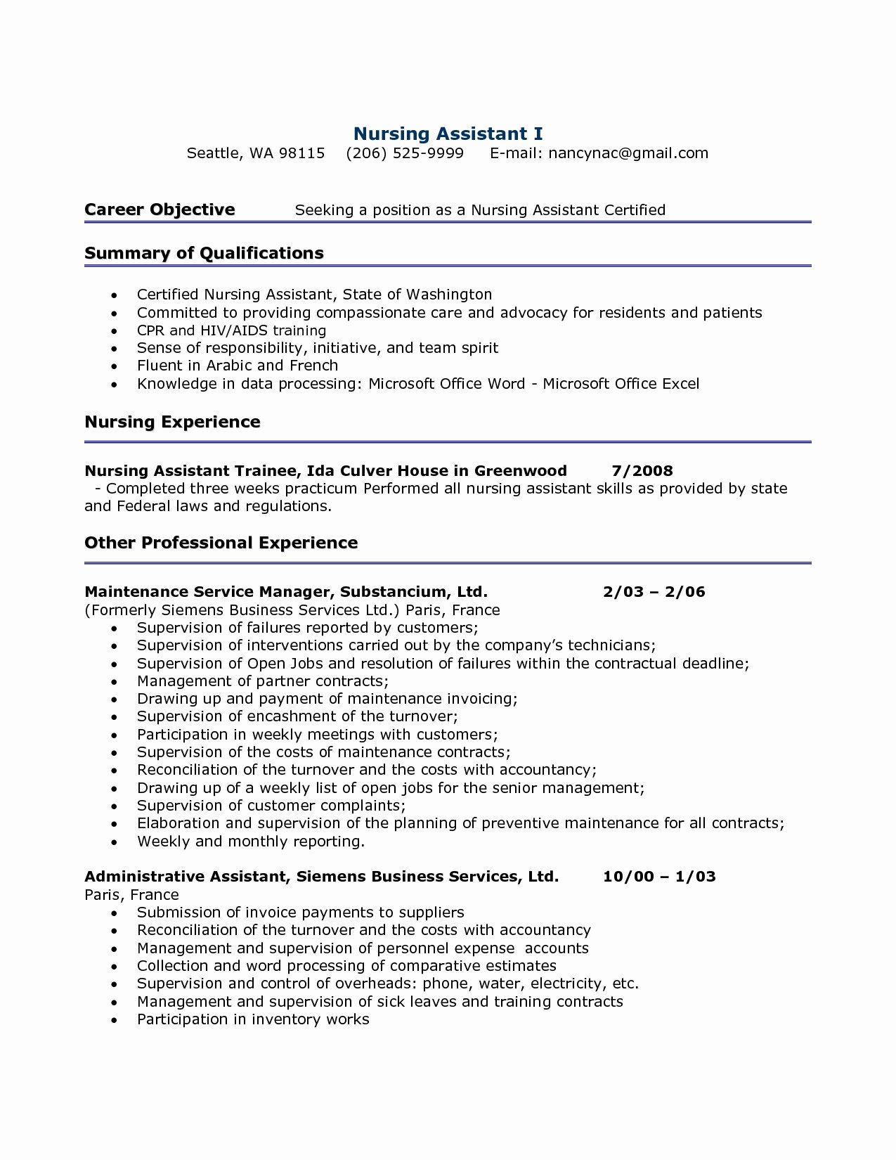 Cna Resumes Sample Resume Hospital Nursing assistant